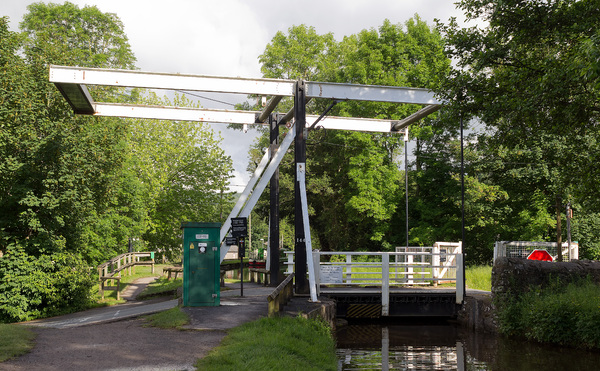 Canal bridge: A drawbridge over a canal in eastern Wales.