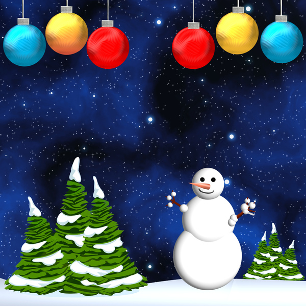 Christmas Snowman: Snowman with a Christmas tree with ornaments and snow .