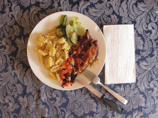 Homemade cooking: Healthy homemade cooking with caramelized grilled chicken, stir fry vegetable, pasta and side dish