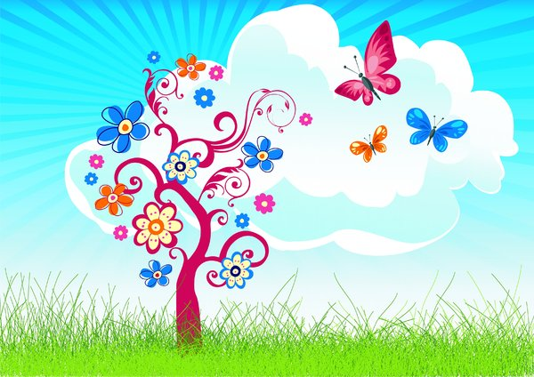 Joyful tree with butterfly's: Joyful tree with butterfly's