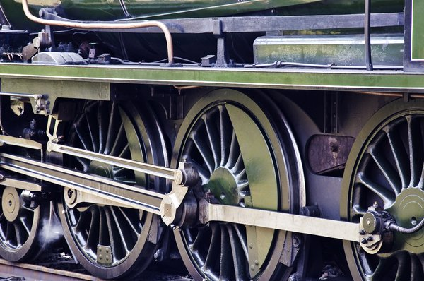Wheels: The wheels of a steam engine
