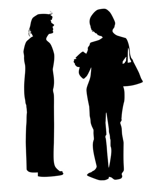 Two women talking: A plain silhouette. A girl and a woman chatting. The one on the right is holding a map.Please comment this shot or mail me if you found it useful. Just to let me know!I would be extremely happy to see the final work even if you think it is nothing special