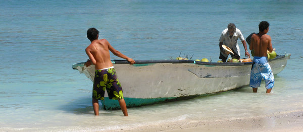 Transporting Coconuts 2: Fishermen transporting and unloading coconuts to a small island in Ixtapa, Mexico.