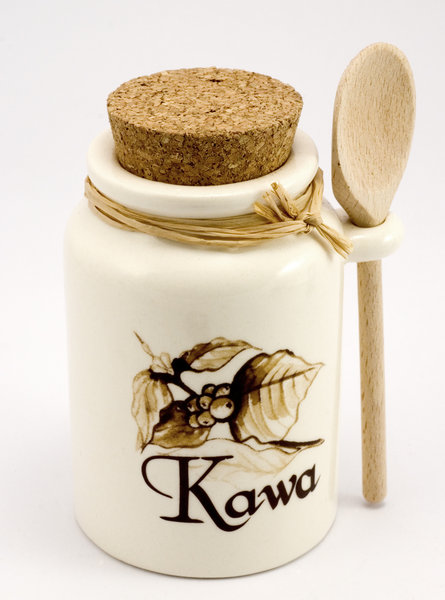 Pottery jar for coffee: Pottery or stoneware for coffee, with polish lettering - kawa