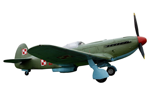 Soviet fighter Jak 3 from poli: Isolated plane from World War II times