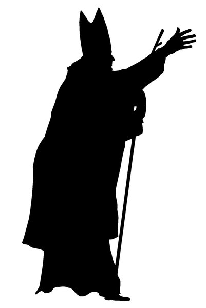 A silhouette of the pope 1