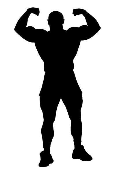 Strongman winner: Silhouette of the athlete