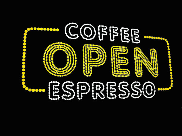 Expresso: Flourescent sign in the window of a coffee shop in Winter Garden, FL