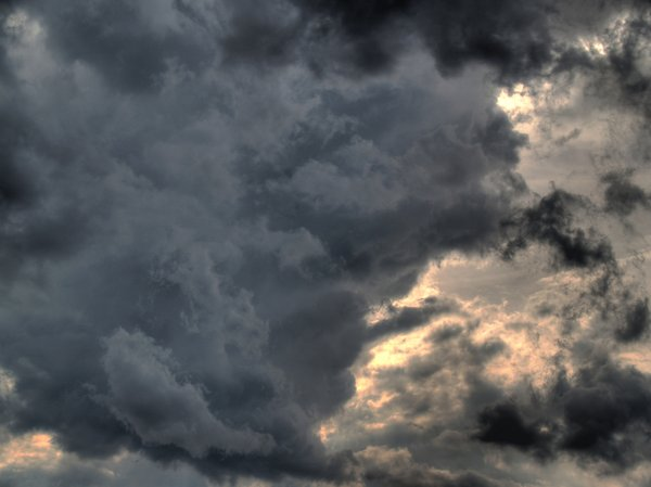 Dark clouds ahead: A thunderstorm is approaching. Picture is generated as HDR from three pictures.