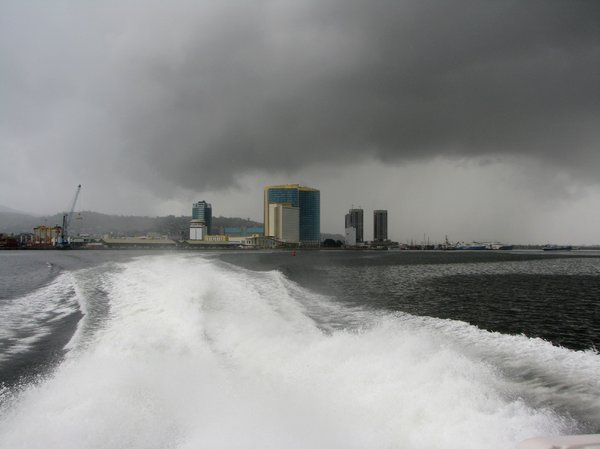 Aqua Departure: Water Taxi enroute from Port Of Spain