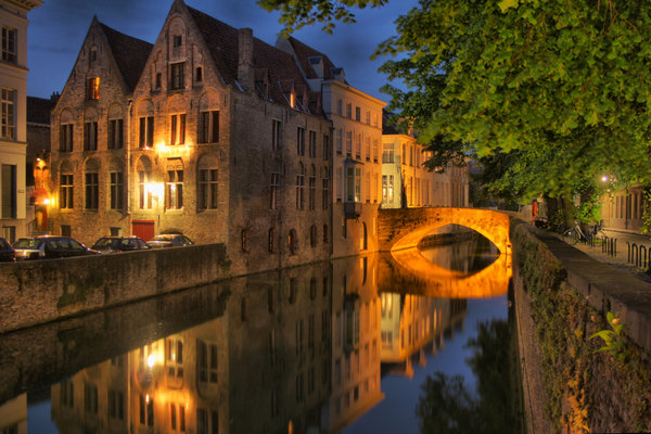 Bruges at Night: HDR shot of Bruges at Night