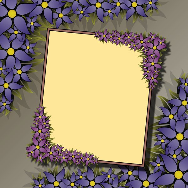 Floral Frame 3: rectangular frame with blue flowers in the high-resolution