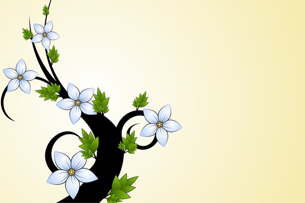 Small Tree: Black tree with blue flowers and green leaves on a yellow background