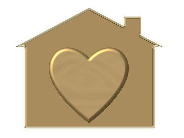 Home is Where the Heart Is: House symbol and heart with a metal effect. Could represent housing, love and families. Home and hearth, etc.
