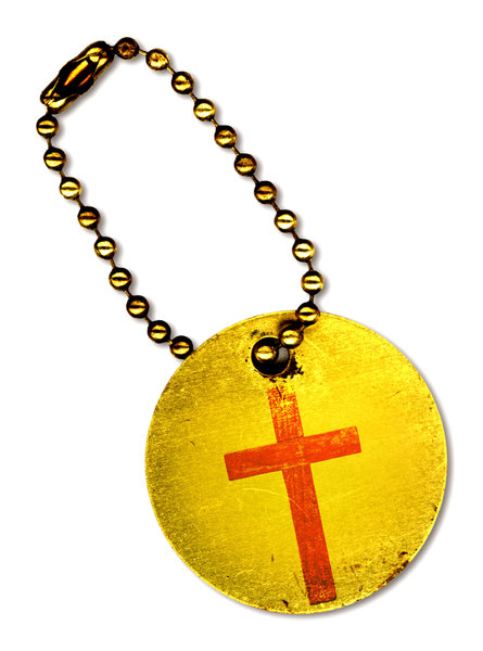 Cross Tag: Vintage metal tag with a red cross.http://www.dailyaudiobibl ..Please visit my stockxpert gallery:http://www.stockxpert.com ..