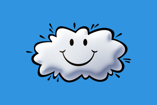 Happy Cloud: A cartoon illustration of a smiley cloud.For the Hi Res version, please visit:http://www.stockxpert.com ..
