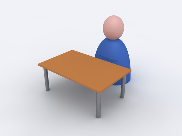 Person at desk: An abstract picture of a person behind a simple desk.