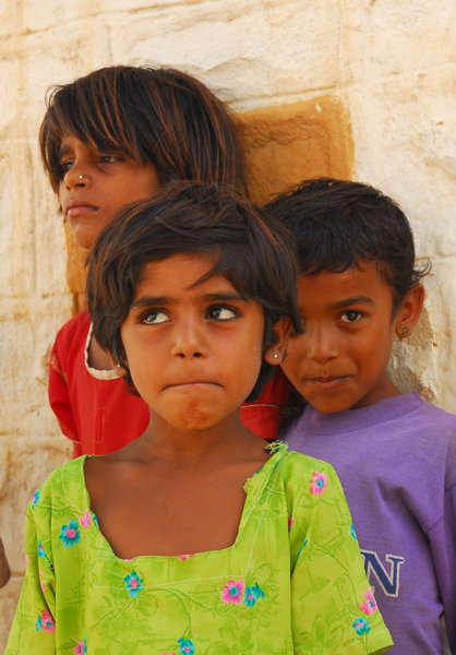 Incredible India: India is an incredible country. Unique, chaotic, beautiful. Children in Tar desert, Rajastan