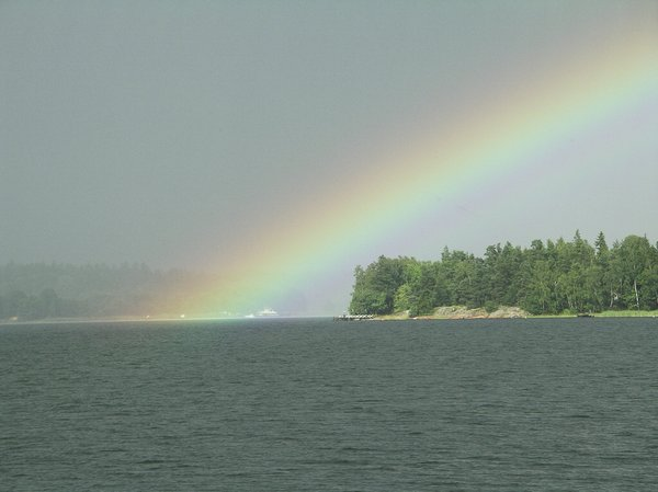 After the rain: Rainbow in Stockholm archipelago