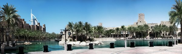 Palace Panorama: High resolution panoramic view of a palace like setting in Dubai. Taken from the Qaid madinat Jumeirah