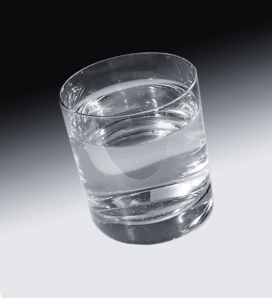 Glass of water: Clear glass of water