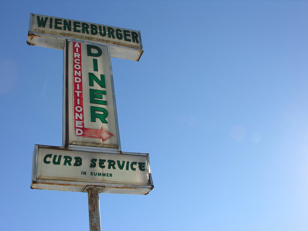 Wienerburger: I found this old piece of road side history. The owner still lives on the property and told me the diner was open back in the mid 1960's, the building is gone now but the sign still lights up!