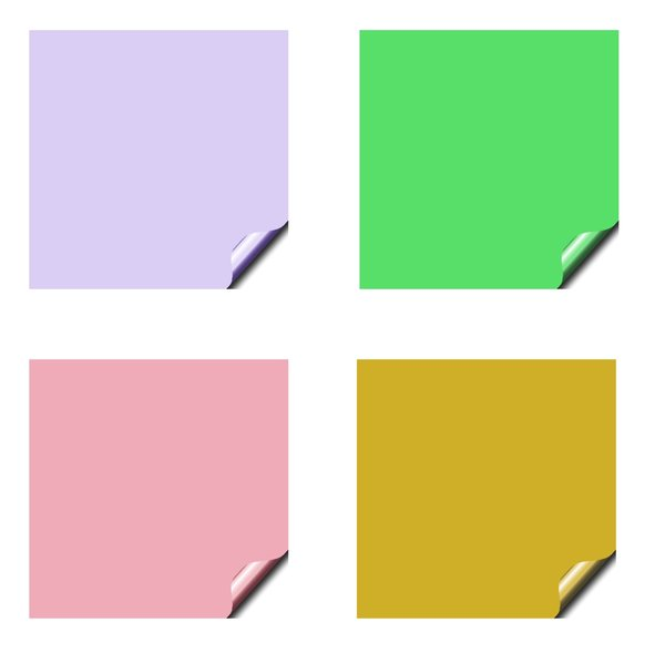 Stickers 10 Squares: Square stickers with a lifted edge, in pastel colours. Copyspace for your pricing, message or announcement. May be used as web buttons.