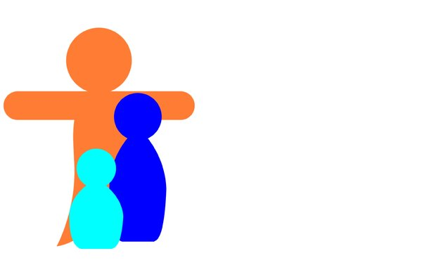Family 2: Pictogram depicting a family with father, mother and child.Could be a mother and two children. Can represent many things.