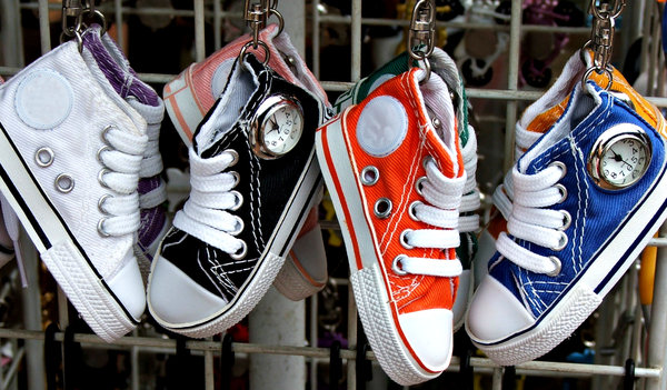 timely shoes: miniature sneakers with small clocks - time pieces - key rings