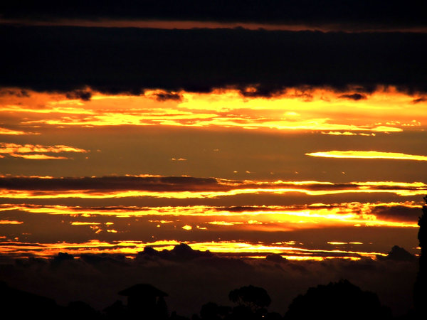 golden dusk: setting sun and darkened black clouds
