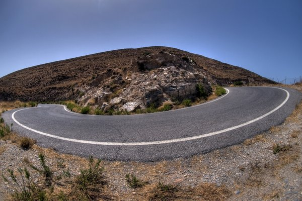 Hairpin bend - HDR: A hairpin bend in a mountain terrain. The picture is HDR.