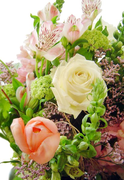 Huge flower bouquet 6: Great bunch of white/pink flowers - detail with rose and tulip