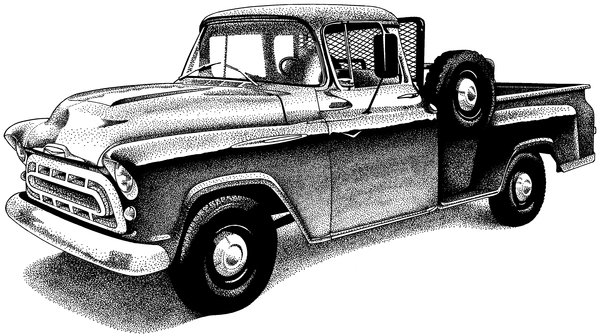 Truck: A pen and ink illustration of a vintage pick up truck. Visit me at Dreamstime: 