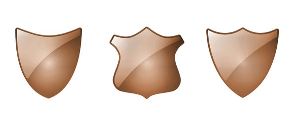 Shield: The shape of shields in 3 colors versions: gold, bronze, silver