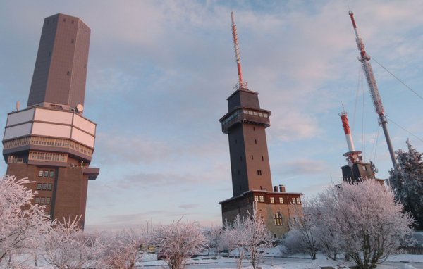 Frosty Morning (3): Sunrise at 'Großer Feldberg' near Frankfurt am Main Germany ( 888m ). Well known three towers an top of the highest hessian mountain ( Telekom, View Point, Radio ). A frosty morning at 8.30 ( -10 degrees C with strong eastern wind )