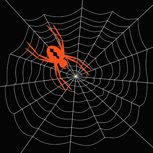Arachnophobia 3: Spooky spider on web.  White on black.