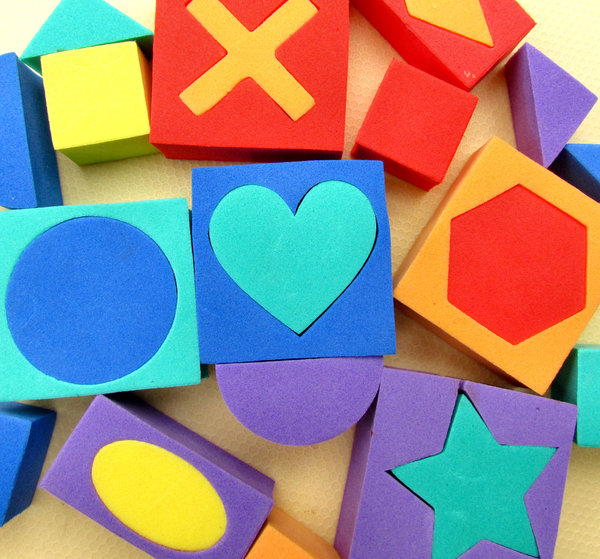 shapes and colours3: colourful children's soft foam rubber playing blocks and shapes