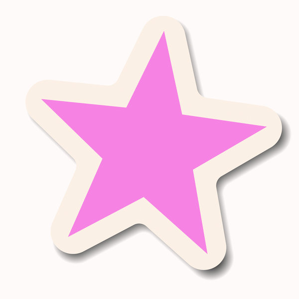 Star Sticker 2: A pink pastel star sticker with a white border. Makes a great attention-getting announcement bubble, price tag or label.