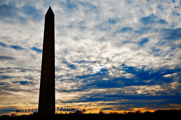 Washington Monument Silhouette: Washington Monument silhouette in Washington DC.