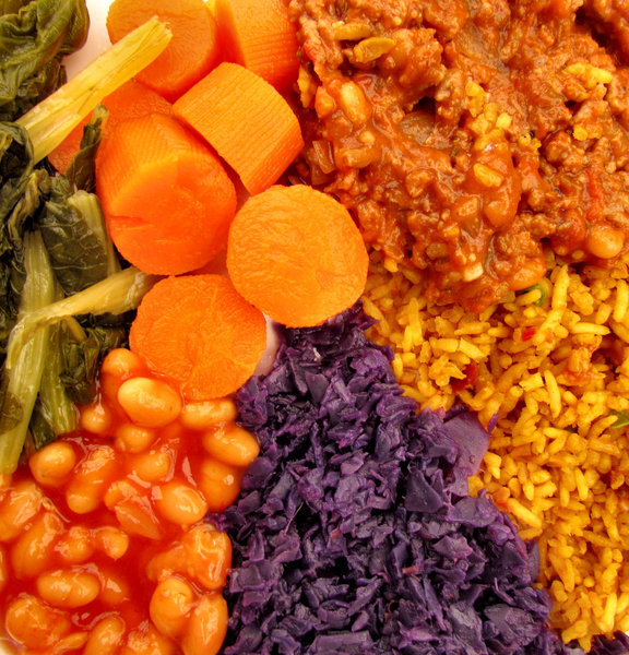 multicoloured meal3: multicoloured mixed meal of savoury rice with mince and vegetables