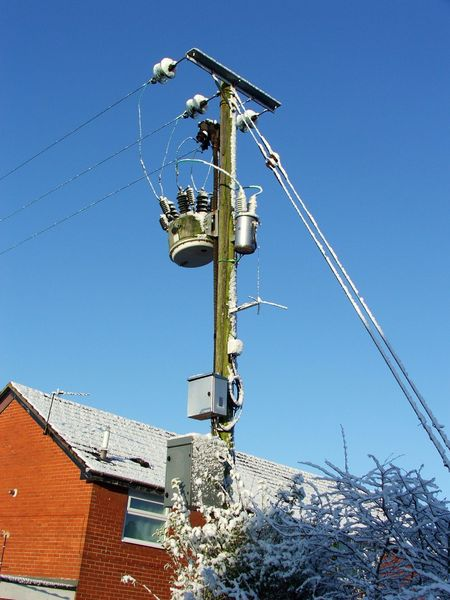 Power: Electricity transformer after snow