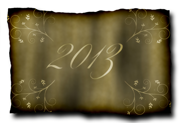 2013 o: A grungy 2013 banner in sepia colours with an ornate floral motif and a burnt edge. You may prefer this: http://www.rgbstock.com/photo/nQphSSS/2013+i