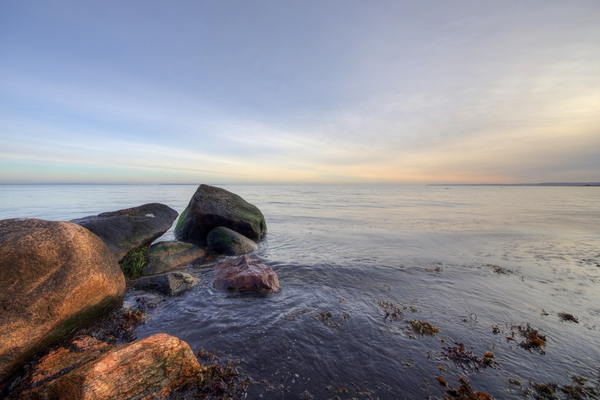 Rocks in the water - HDR: Rocks in Öresund, between Sweden and Denmark. The image is HDR.