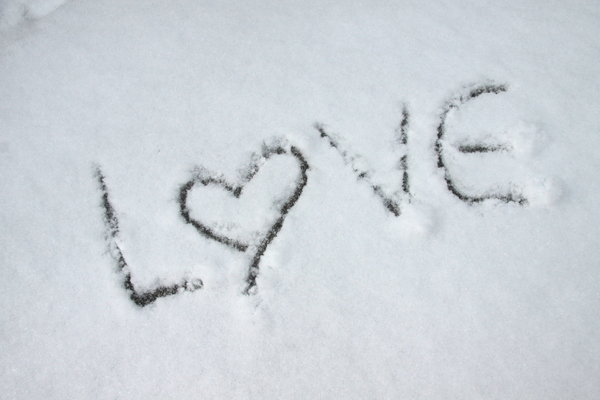 Cold love: The word love written in the snow