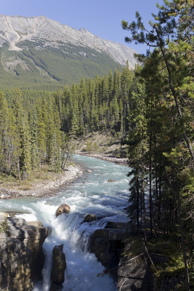 Entrance to a river gorge: Entrance to a river gorge in the Rocky Mountains, Canada.