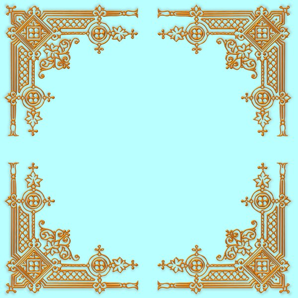 Golden Ornate Border 11: A golden ornate border or frame on a plain aqua background. Very elegant and old fashioned in a classic style. You may prefer this:  http://www.rgbstock.com/photo/nvi0UW8/Golden+Ornate+Border+2  or this:  http://www.rgbstock.com/photo/nL3g19U/Golden+Vine+
