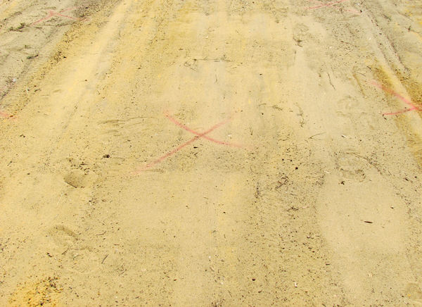 X marks the spot: compacted sand pad prepared for concrete work with surveyors mark