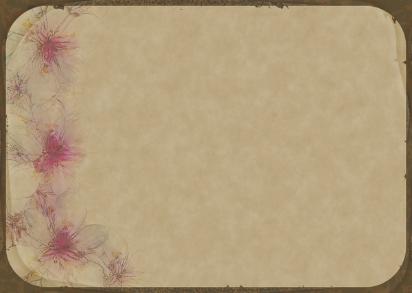 Decorated Parchment 2: A rounded rectangle background of parchment decorated with a floral border.