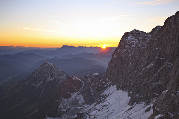 mountain sunset: sunset at the terrific dachstein glacier in styria - austria