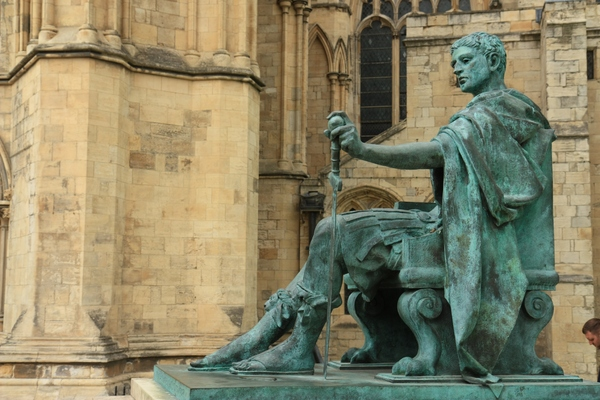 Emperor Constantine: Statue of Roman Emperor Constantine outside York Minster, where he was proclaimed emperor in 306AD.